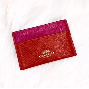 Coach Saffiano Leather Pink and Red Card Holder